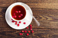 Tea with wild strawberries top view of a cup of Royalty Free Stock Image