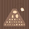 Teabag seamless pattern with teapots cups and cakes Royalty Free Stock Images