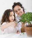 Teacher child plant Stock Photos