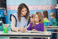 Teacher and girl reading book with children in young female background at preschool Royalty Free Stock Photo