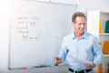 Teacher giving the lecture i like my job positive and happy and standing near blackboard with marker Royalty Free Stock Image