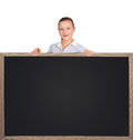 Teacher holding  blackboard Royalty Free Stock Photos