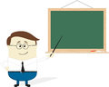 Teacher illustration of cartoon and blackboard isolated on white background flat design Stock Images
