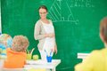 Teacher at lesson portrait of smart standing by blackboard and looking schoolkids Stock Photo