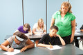 Teacher Monitors Standardized Test Royalty Free Stock Photography