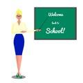 Teacher near blackboard. Welcome back to school. Vector flat illustration on white background