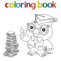 Teacher Owl in mortarboard for coloring book Royalty Free Stock Photo