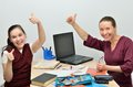 Teacher and pupil glad successful learning Royalty Free Stock Photos
