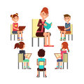 Teacher reading book to children that sitting around. Kids education vector concept Royalty Free Stock Photo