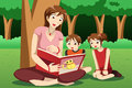 Teacher reading book to kids a vector illustration of preschool in the park Royalty Free Stock Images