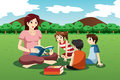 Teacher reading book to kids a vector illustration of preschool in the park Royalty Free Stock Photos