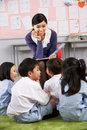 Teacher Reading To Students In Chinese School Stock Images