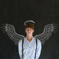 Teacher salesman student business angel investor man chalk wings halo Royalty Free Stock Photography