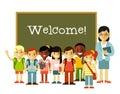 Teacher and school children near blackboard in flat style Royalty Free Stock Photo