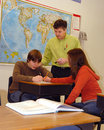 Teacher and Students in classroom Stock Photos