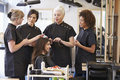 Teacher Training Mature Students In Hairdressing Royalty Free Stock Photo