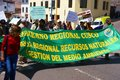Teachers carrying banners in parade cusco peru aug demonstration supporting ecology cusco peru south america Stock Photo