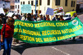 Teachers carrying banners in parade cusco peru aug demonstration supporting ecology cusco peru south america Stock Image