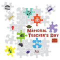 Teachers day national teacher s in the puzzle vector illustration Stock Images