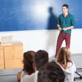 Teaching asisstent young professor giving class in lecture hall Stock Image
