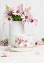 Teacup & Flowers Stock Photography