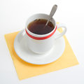 The teacup and a spoon composition closeup isolated Stock Photos