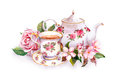 Teacup, tea pot, pink flowers - rose and cherry blossom. Watercolor Royalty Free Stock Photo