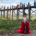 Teak bridge and newly weds u bein amarapura mandalay myanmar http en wikipedia org wiki u bein Stock Photo