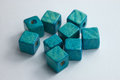 Teal cube beads beautiful wooden Stock Photo