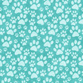 Teal Doggy Paw Print Tile Pattern Repeat Background