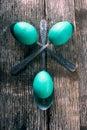 Teal easter eggs con las cucharas Fotos de archivo libres de regalías