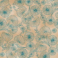 Teal flower design on pale coffee background Stock Images