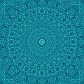 Teal seamless jungle kaleidoscope mandala pattern wallpaper design - geometrical vector meditation background graphic Royalty Free Stock Photo
