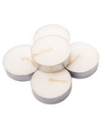 Tealights candles v small over white background Stock Images