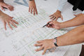 Team of architects on construciton site people in group check documents and business workflow Royalty Free Stock Image