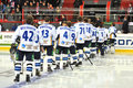 Team Barys listening anthem of Kazakhstan Stock Image