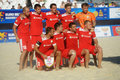 Team belarus in the euro beach soccer league moscow russia july before match with greece during stage of won Royalty Free Stock Photo