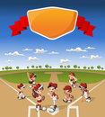 Team of cartoon children playing baseball wearing uniform on green field Royalty Free Stock Images