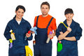 Team of cleaning workers Stock Images