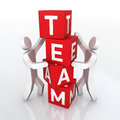 Team cube concept and place the cubes two people close up Royalty Free Stock Photography