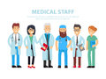Team of doctors, nurses and other hospital workers stand together. Vector people illustration isolated on white background with th