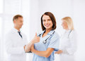 Team of doctors showing thumbs up healthcare and medical concept Royalty Free Stock Photos