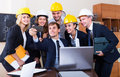 Team of engineers posing and doing selfie Royalty Free Stock Photo