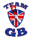 Team GB Hand Holding Torch Great Britain Flag Stock Image