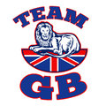 Team GB Lion sitting on Union Jack Royalty Free Stock Photo