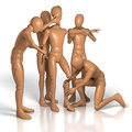 Team group of figures building new figure out of single parts rendering illustration on white background Royalty Free Stock Image