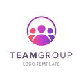 Team group logo template. Creative people logo design template with circle. Symbol of people cooperation