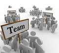 Team groups signs people teamwork Foto de Stock