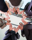 Team hands together low angle view of business in circle Stock Photos