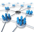 Team network problems as a connected business group of people icons with a broken link and system failure concept representing Stock Image